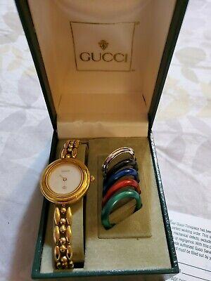 Vintage Gucci Interchangeable Bezel Women's Watch in Box original  paper work