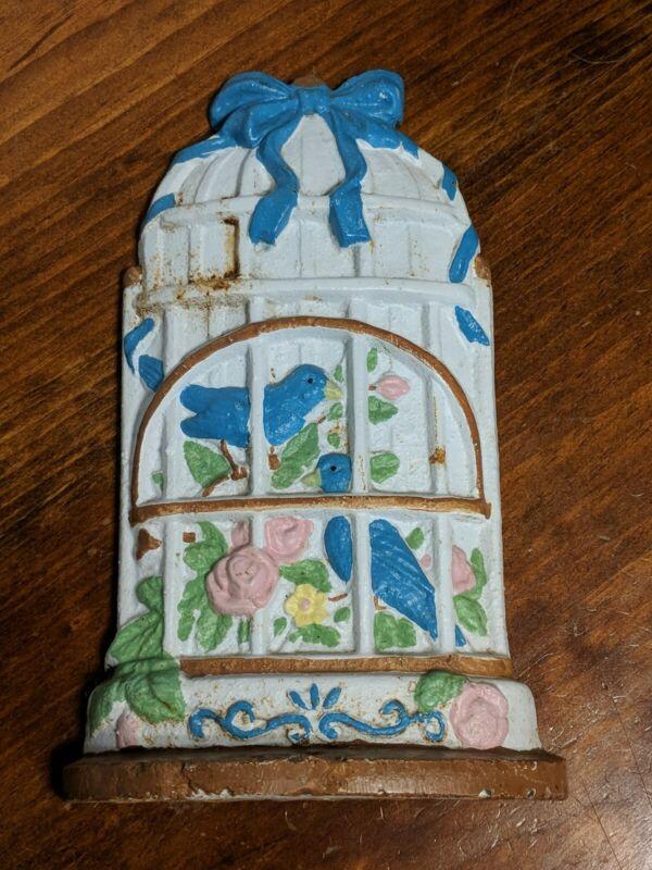 Doorstop Cast Iron Bird Cage Door Stopper Blue Birds Vintage