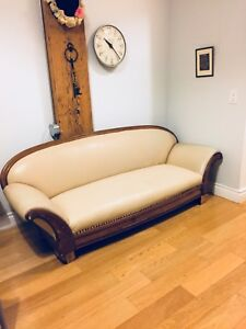 ANTIQUE ART DECO SOLID OAK SOFA NEW REUPHOLSTERY VINTAGE COUCH