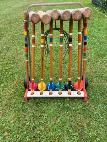 Vintage Wooden 6 Player Croquet Set With Mallets, Stakes, Balls,Wickets & Stand