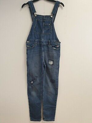 GIRLS JORDACHE BLUE BAGGY TAPERED  DENIM DUNGAREES UK AGE 10-12 YEARS W26 L27