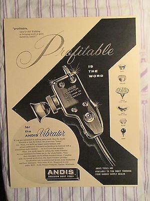 Vintage Barbershop Profitable Andis Vibrator & Attachments Sign Ad