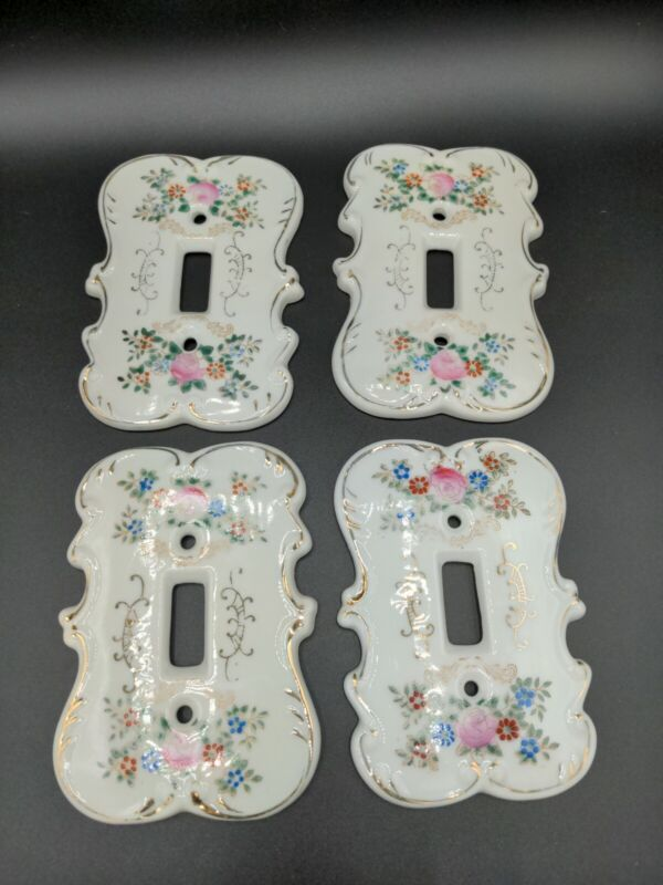 Vintage Porcelain Light Switch Plate Covers Hand Painted Roses Gold Trim 4 aval