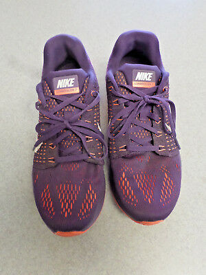 "Nike ""Lunarglide 7"" purple and orange lightweight running shoes. Women's 8"