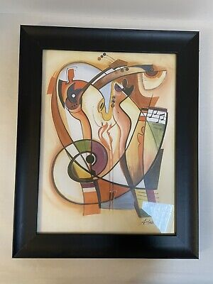 Abstract Art Party Animal by Alfred a Gockel Print Framed 19x15