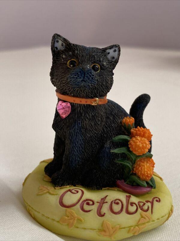 Enesco Cat Of The Month Calico Kittens October Birthday Priscilla Hillman 2000