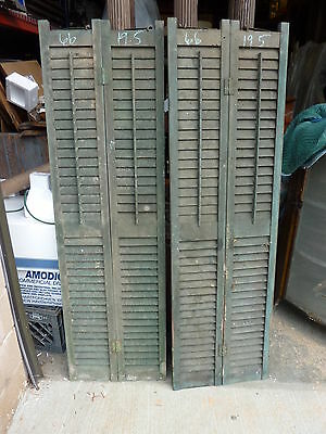 """pair DOUBLE wide victorian louvered shutter panels GREEN 66"""" h x 19.5"""" w x 1.25"""""""