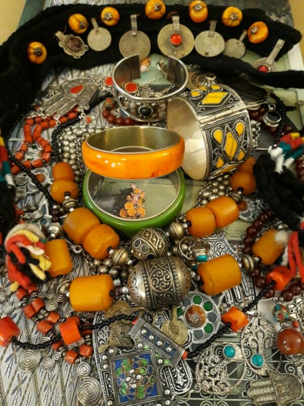 Vintage Berber Moroccan Necklace Bracelet Enamel Amber Collection LOT.