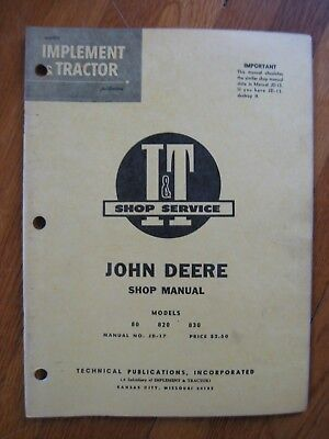 John Deere 80 820 830 Diesel It Tractor Shop Manual