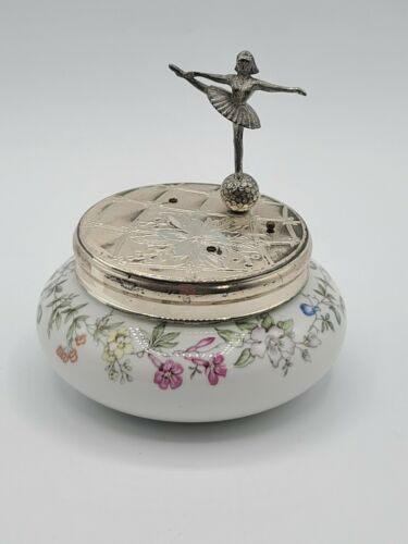 Vtg Reuge W Germany Silver Plate Ballerina Porcelain Trinket Music Powder Box