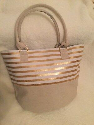 Tasche Shopper Strandtasche Heine heline neu Canvas Leinen Gold Luxus neu (Canvas Strand Tasche)