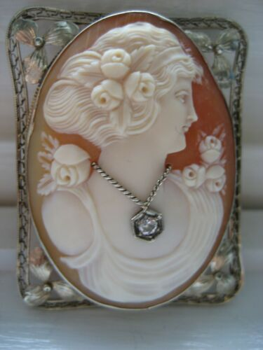 Antique Art Nouveau Large Shell Cameo Habille Old Mine Diamond 14k White Gold
