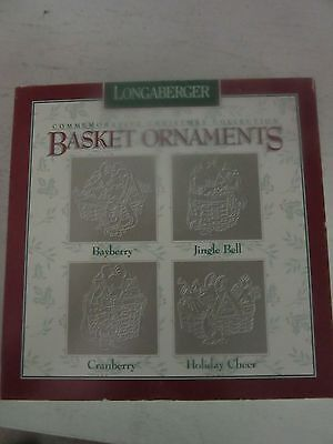 Longaberger Pewter Ornaments  Bayberry Jingle Bell Cranberry Holiday Set of 4