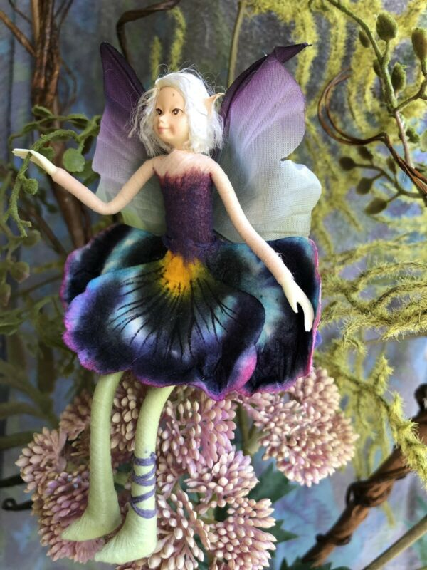 """Poseable Handmade Flower Fairy Collectible Doll  """"Pansy"""""""
