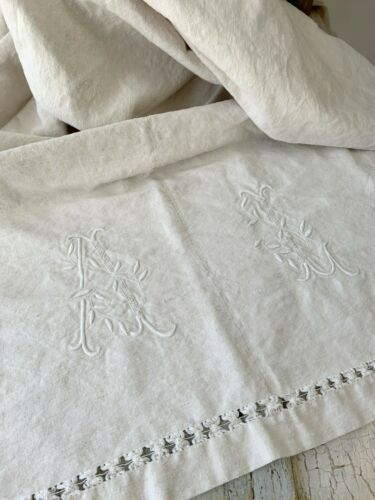 AL mono Antique Ecru Linen European Sheet TEXTURAL natural fabric circa 1900