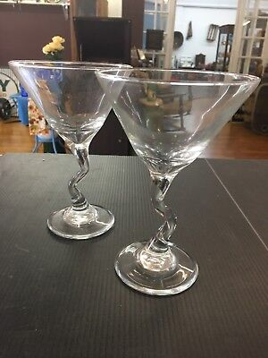 "2 Tall 7"" Air Twist Stem Wine or Toasting Glasses E37"