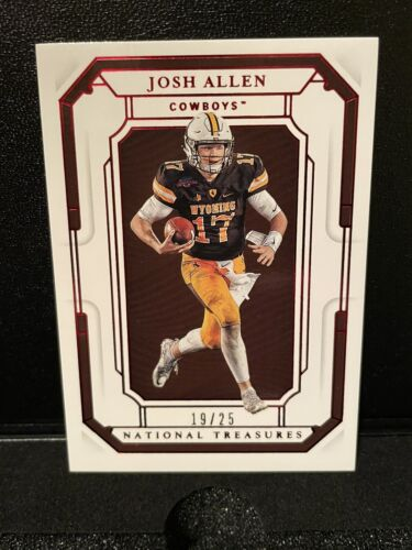 Josh Allen 2019 Panini National Treasures Collegiate Red /25 Wyoming Bills - $16.49