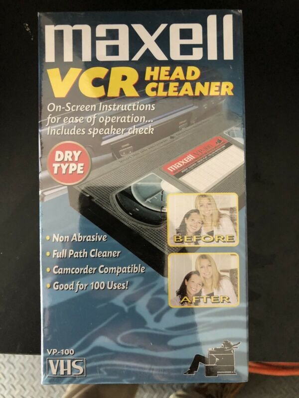 Maxell VP-100 VCR Dry Type VHS Video Head Cleaner Tape Brand New Sealed