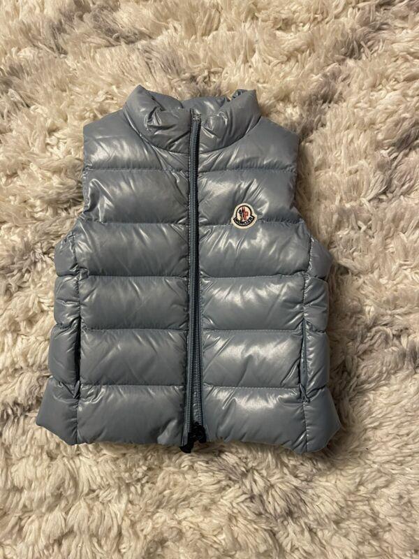 Moncler Baby Down Vest Coat Size 2. Pre- Owned. Color Light Blue
