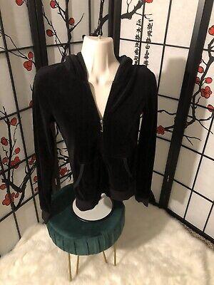 Girls Juicy Couture Full Zip Long Sleeve Hoodie Size 12/14 Black