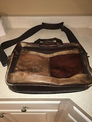 SAMSONITE Brown Leather Business Case Expandable Laptop Briefcase Portfolio