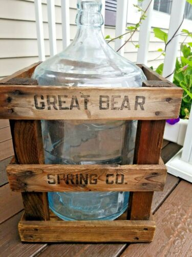 Vintage Great Bear Bottled Water Glass 5 gallon Bottle w/Wooden Crate Car Jug