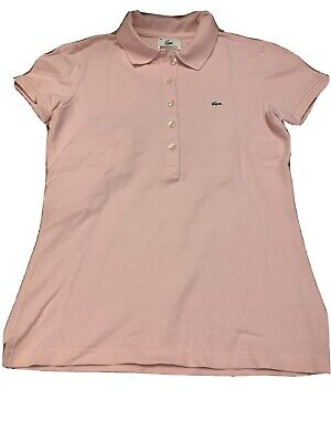 Lacoste Women's Short Sleeve Polo Shirt Top Pink Size 38 EUC