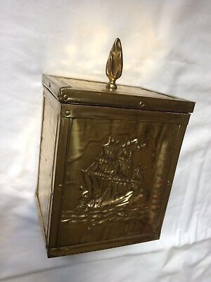 Vintage Tea or Humidor Caddy, Square Brass Covered Box W/Embossed Sailing Ship