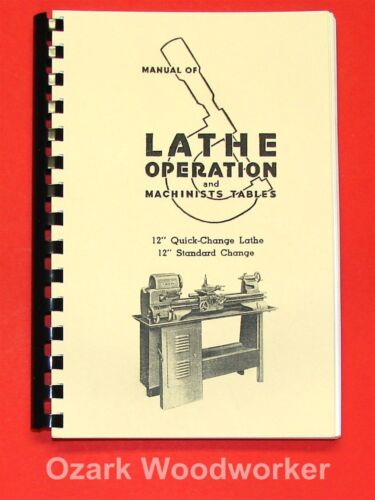 "Atlas Craftsman Manual of Lathe Operation Book for 12"" Crossfeed Lever 0035"