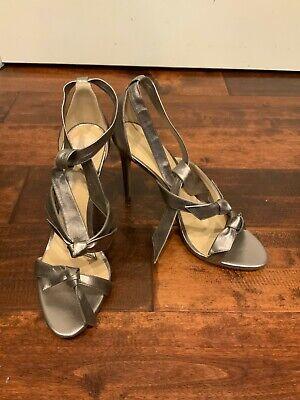 Alexandre Birman Silver Leather Tie Strappy Bow Heels, Size 10 (US) 41 (EU)