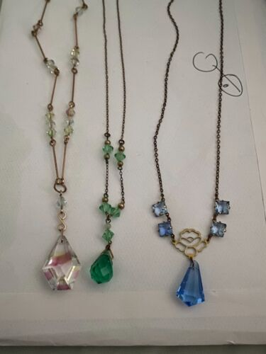 Edwardian vintage glass bead necklace x3