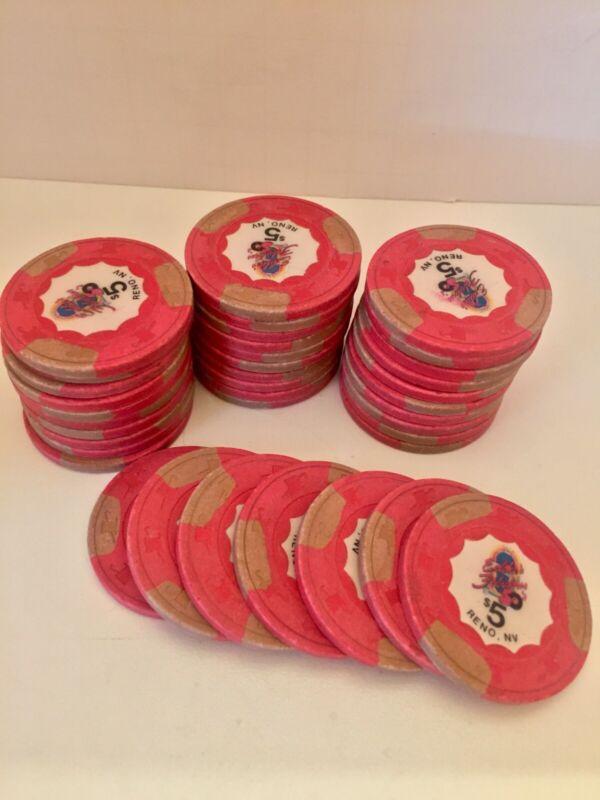37 Five Dollar Casino Chips - Eddies Fabulous Fifties Casino - Reno, Nevada