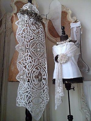 Antique French Battenburg/HandWork Bobbin/Schiffi Lace Stole/Collar~Mantel Drape