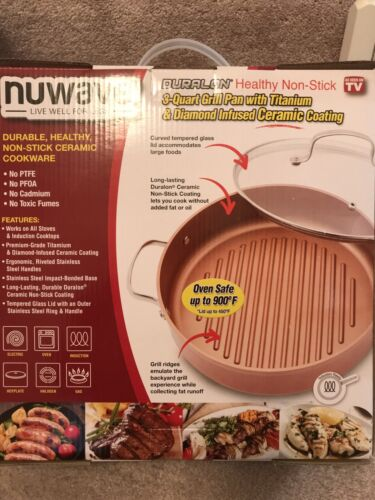 NUWAVE 3 Quart Grill Pan With Titanium And Diamond Infused C
