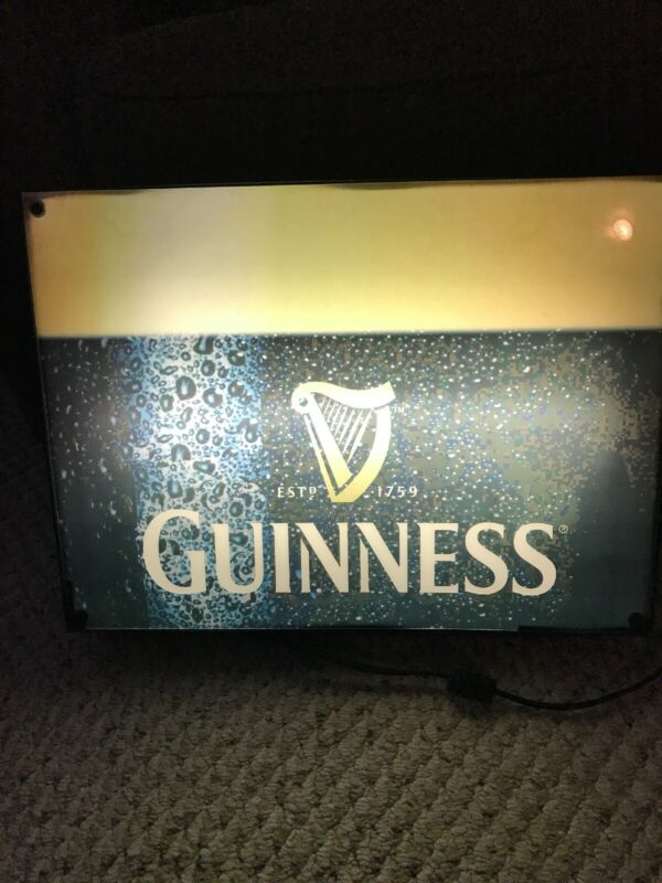 """Guinness Beer Bar Light Nice Condition Works Fine Designed For Wall 19x14x3"""""""