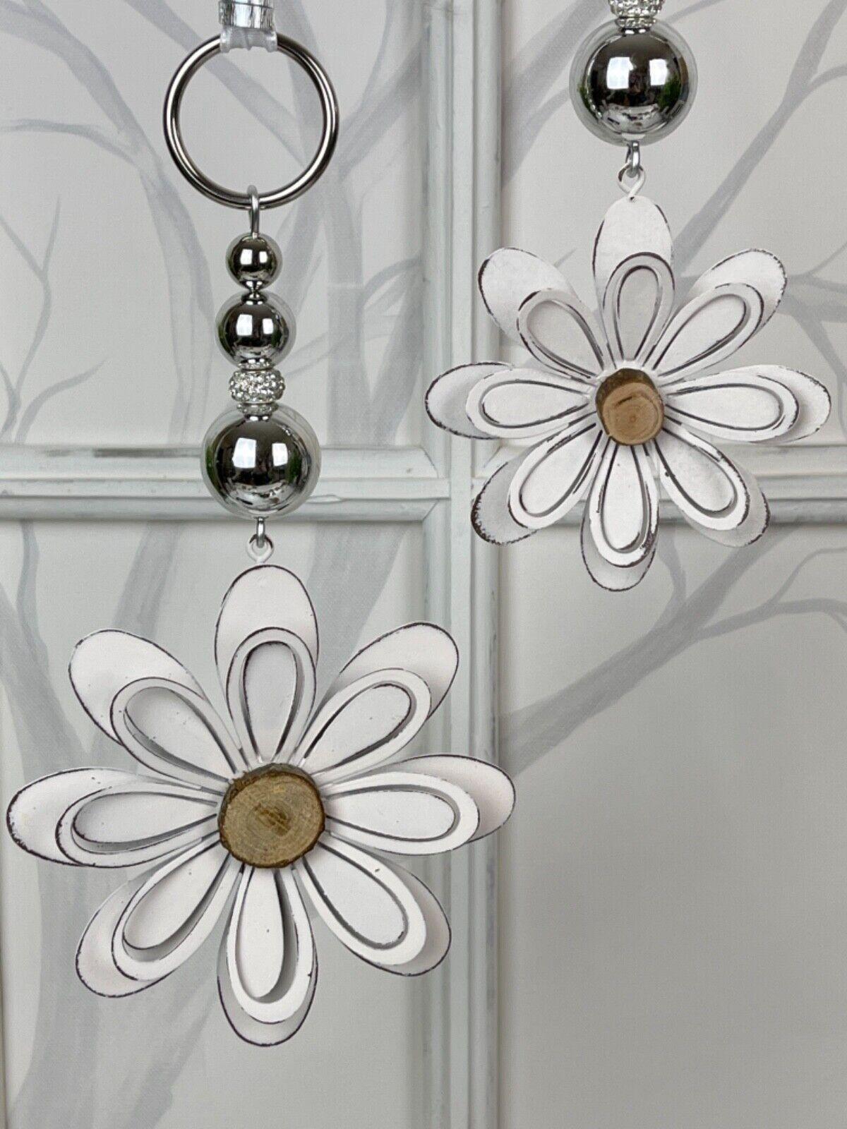 🌹 Fensterdeko 3D Metall Blumen, Fenster Hänger in 2 Großen, Fensterdekoration