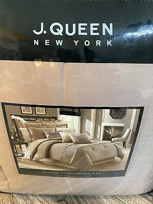 J. Queen New York Zen Blossom 4 Piece Comforter Set Shams Bedskirt Queen New!