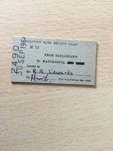 B, R, B,  Railway. Ticket,  (. Earlestown. To. Manchester,  64,  )
