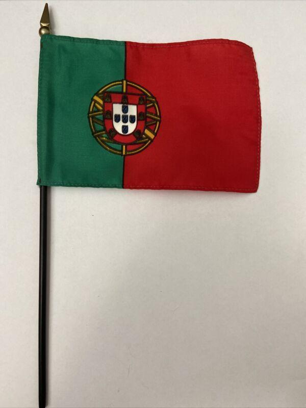 """New Portugal Mini Desk Flag - Black Wood Stick Gold Top 4"""" X 6"""""""