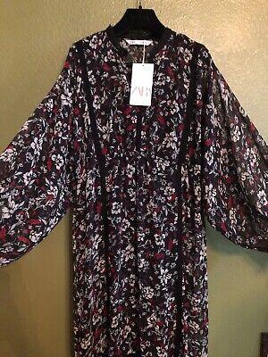 100% Authentic ZARA Black Floral Ruffle Dress