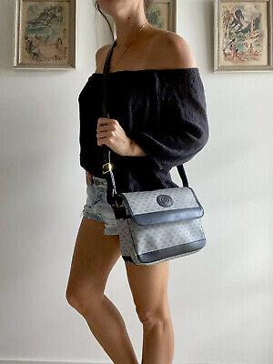 Authentic Vintage GUCCI Brown Monogram GG purse BAG Cross-body Navy Blue