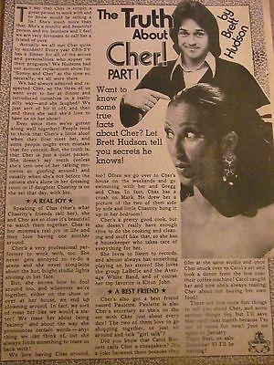 Cher, Brett Hudson, Full Page Vintage Clipping