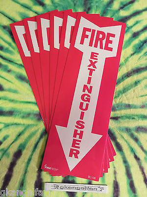 Lot Of 6 Self-adhesive Vinyl Fire Extinguisher Arrow Signs...4 X 12 New