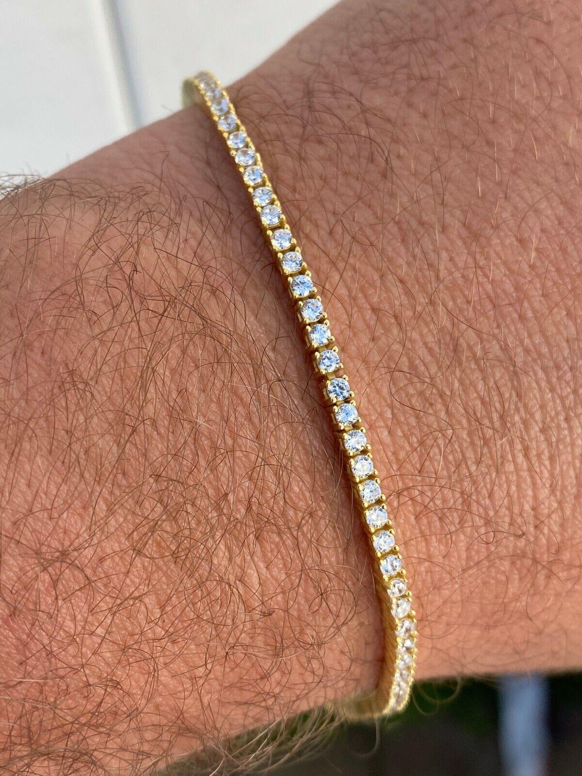 "14k Gold Over Real 925 Sterling Silver 2mm Tennis Bracelet Diamond 6-8.5"" Iced 2"