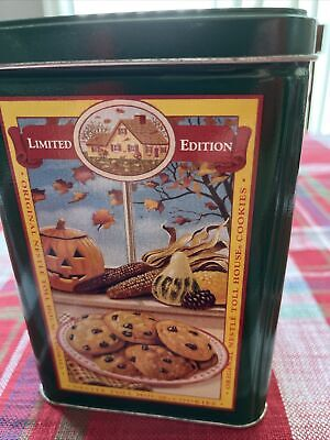 VINTAGE NESTLE TOLL HOUSE COOKIES LIMITED EDITION GREEN/BLUE METAL TIN Free Ship