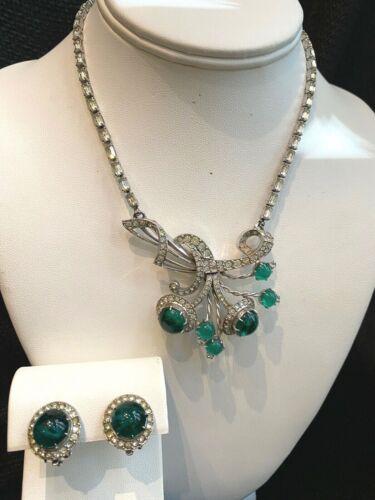 Vintage SCHIAPARELLI Emerald Green Cabochon & Rhinestone Necklace & Earrings Set