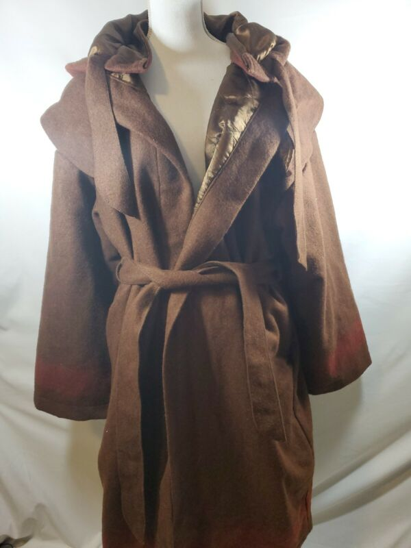 Wool Capote Coat Brown Womens Large Lined Long Sleeve With Belt w/ red stripe