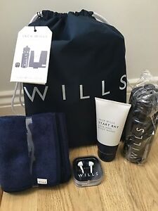 Jack Wills Drawstring Rucksack School Gym Bag towel drinks bottle gift set Navy