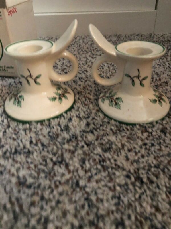 Spode Porcelain China Christmas Tree Candle Holders Pair S3324 K Made in England