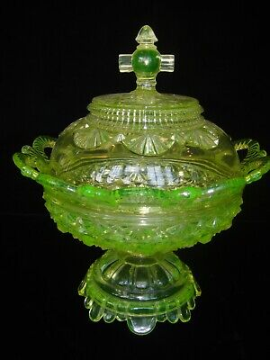 EAPG BELMONT GLASS WORKS NO. 100 DAISY & BUTTON VASELINE URANIUM COMPOTE W COVER